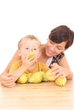 Fun with pears Stock Image