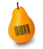 Fun pears oranges background. Fun pears and oranges on white background Stock Photo