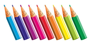 Fun pencils. Set of colored pencils on white background. Vector illustration Royalty Free Stock Photos