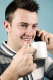 Fun at the phone Royalty Free Stock Photo