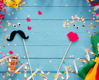 Fun photo booth accessories festive background Royalty Free Stock Photo