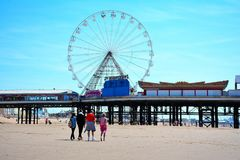 Fun pier in the Blackpool wiew of the beach. This photo was taken in the city Blackpool in July 2017 Royalty Free Stock Photo