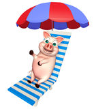 Fun  Pig cartoon character with beach chair. 3d rendered illustration of Pig cartoon character with beach chair Royalty Free Stock Images