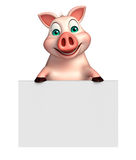 Fun Pig cartoon character with  board Royalty Free Stock Photos