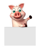 Fun Pig cartoon character with board Royalty Free Stock Images