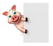 fun Pig cartoon character with  board Stock Photography