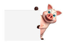 Fun Pig cartoon character with  board Stock Images