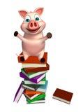 Fun  Pig cartoon character with books Stock Photo