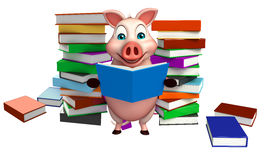 Fun  Pig cartoon character with books Stock Photography