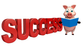 Fun  Pig cartoon character with books and success sign Royalty Free Stock Image
