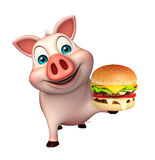 fun  Pig cartoon character with bueger Stock Photos