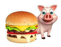 fun  Pig cartoon character with bueger Stock Photography