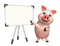Fun Pig cartoon character with display board Royalty Free Stock Photos