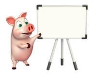 Fun Pig cartoon character with display board Stock Image