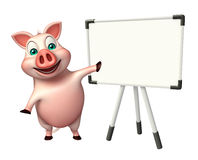 fun Pig cartoon character with display board Royalty Free Stock Photography