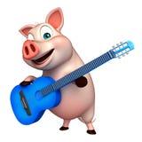 fun  Pig cartoon character with guitar Stock Photos