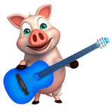 fun  Pig cartoon character with guitar Royalty Free Stock Photo