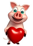 Fun  Pig cartoon character with heart Royalty Free Stock Images