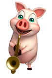 fun  Pig cartoon character with saxophone Royalty Free Stock Images