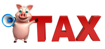 Fun Pig cartoon character with tax sign   and loud speaker Stock Photos
