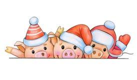 Fun pig cartoons in Christmas hats. Fun pig cartoons in Christmas hats, hiding by bank, isolated on white.Christmas card stock illustration