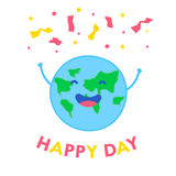 Fun planet with hands and serpentine. Happy Day card. Vector illustration.  Stock Photography