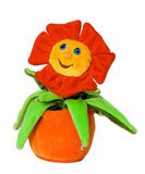 Fun plant. Toy smiling flower isolated on white background Royalty Free Stock Photos