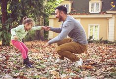 It is so fun play with father. On the move royalty free stock image