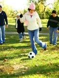 Fun Playing Ball In Park Stock Photo