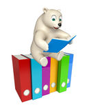Fun Polar bear cartoon character with books  and files Royalty Free Stock Images