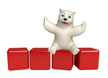 Fun  Polar bear cartoon character with level Stock Image
