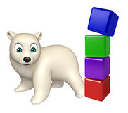 Fun  Polar bear cartoon character with level Royalty Free Stock Image