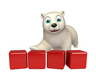 Fun  Polar bear cartoon character with level Royalty Free Stock Photo