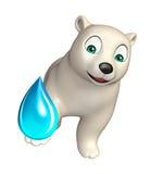 Fun  Polar bear cartoon character with water drop Stock Photos