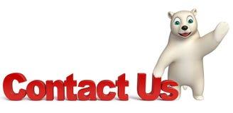 Fun  Polar bear cartoon character wiith contact us sign Stock Photo