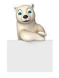 Fun Polar Bear Cartoon Character With Board Royalty Free Stock Photography