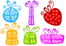 Fun polka dot gift boxes set Royalty Free Stock Images