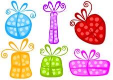 Fun polka dot gift boxes set Royalty Free Stock Images
