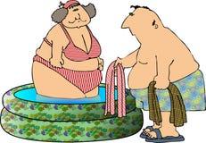 Fun at the pool stock illustration