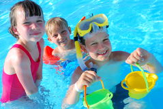Fun in the pool stock photo
