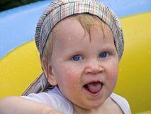 Fun in the pool stock image