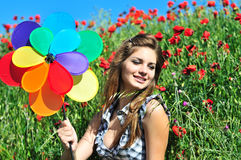 Fun at the poppy field Royalty Free Stock Images