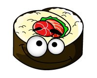 Fun portion of cartoon sushi Royalty Free Stock Images