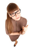 Fun portrait of a strict woman in glasses Royalty Free Stock Image