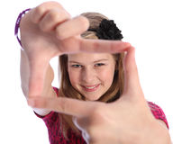 Fun positive hand sign by happy blonde school girl Stock Photo