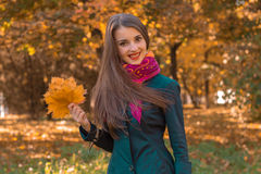 Fun pretty girl in pink scarf around her neck stands in the park looks straight and keeps the leaves in hand Royalty Free Stock Photos