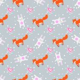 Fun print. cute seamless pattern with little foxes fox, heart and white rabbit royalty free illustration