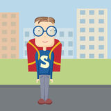 Fun pupil superman outdoor Royalty Free Stock Image