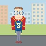 Fun pupil superman outdoor. Vector flat fun pupil superman outdoor illustration Royalty Free Stock Image