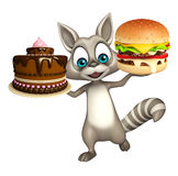 Fun Raccoon cartoon character with burger  and cake Royalty Free Stock Photos